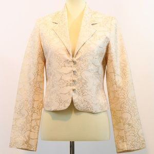 Old Navy Ivory Gold Jacquard Blazer Jacket